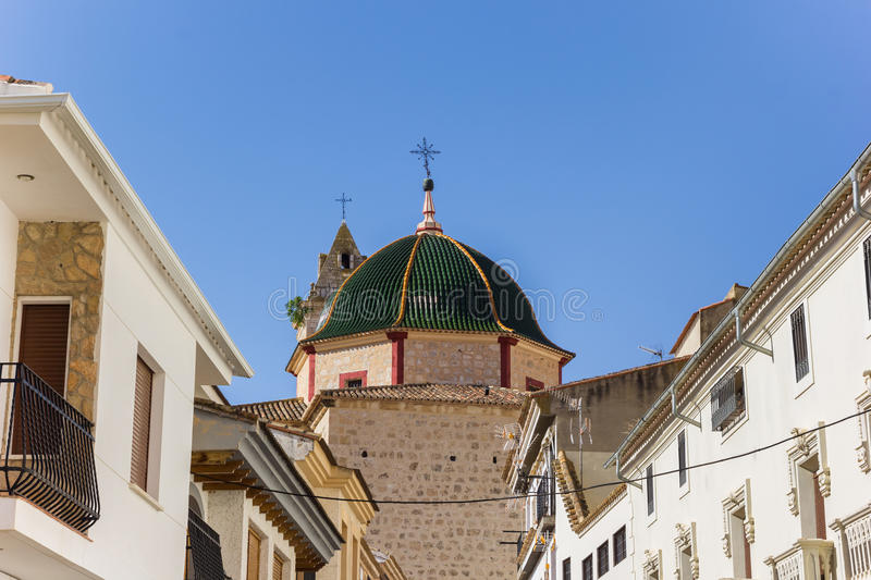 Green tiled dome of the church in Alcala del Jucar. Spain royalty free stock photography