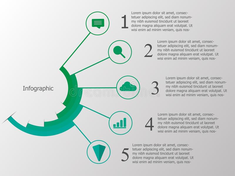 Green timeline infographic with logo icon and copy space for tex royalty free illustration