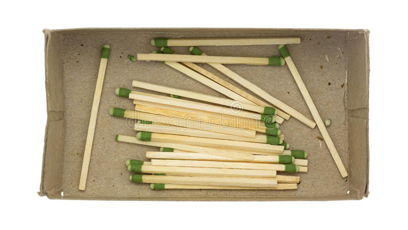 Green tipped large kitchen matches in box stock photos