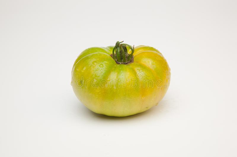 Green tomato on plain background, healthy food. Green tomato, waiting to be matured artificially, on a plain background, healthy food, tomato that is still to stock images