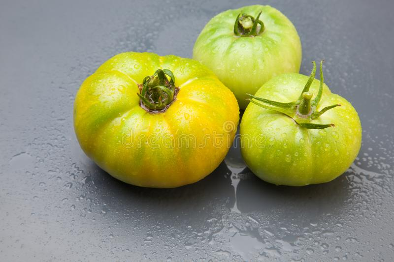 Green tomato on plain background, healthy food. Green tomato, waiting to be matured artificially, on a plain background, healthy food, tomato that is still to stock photos