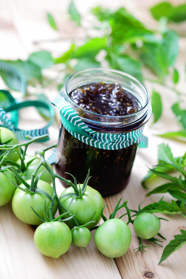 Green tomatoes jam stock images