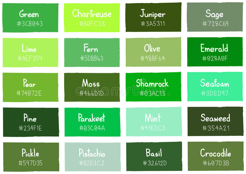 Green Tone Color Shade Background with Code and Name. Illustration royalty free illustration