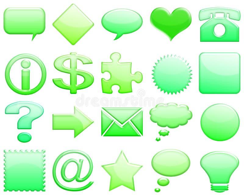 Green tones glossy icon set 101