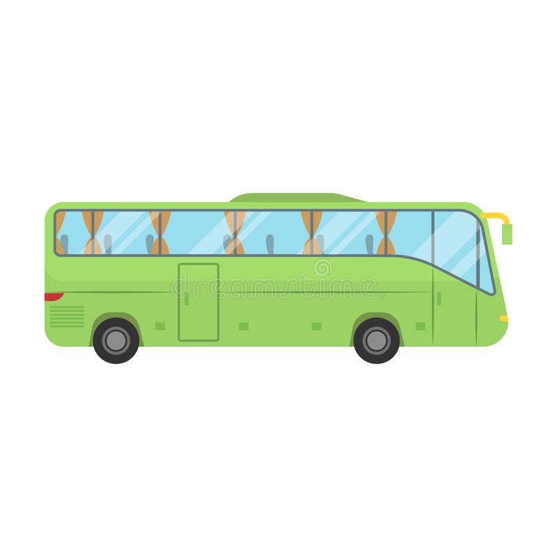 Green tour bus icon in cartoon style isolated on white background. Rest and travel symbol stock vector illustration. royalty free illustration
