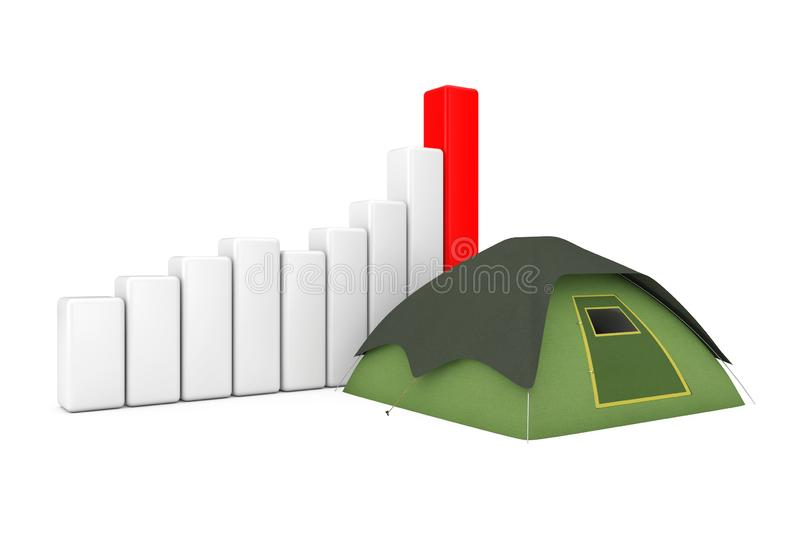 Green Tourist Dome Camping Tent near Business Success Growth Graph Chart. 3d Rendering royalty free illustration