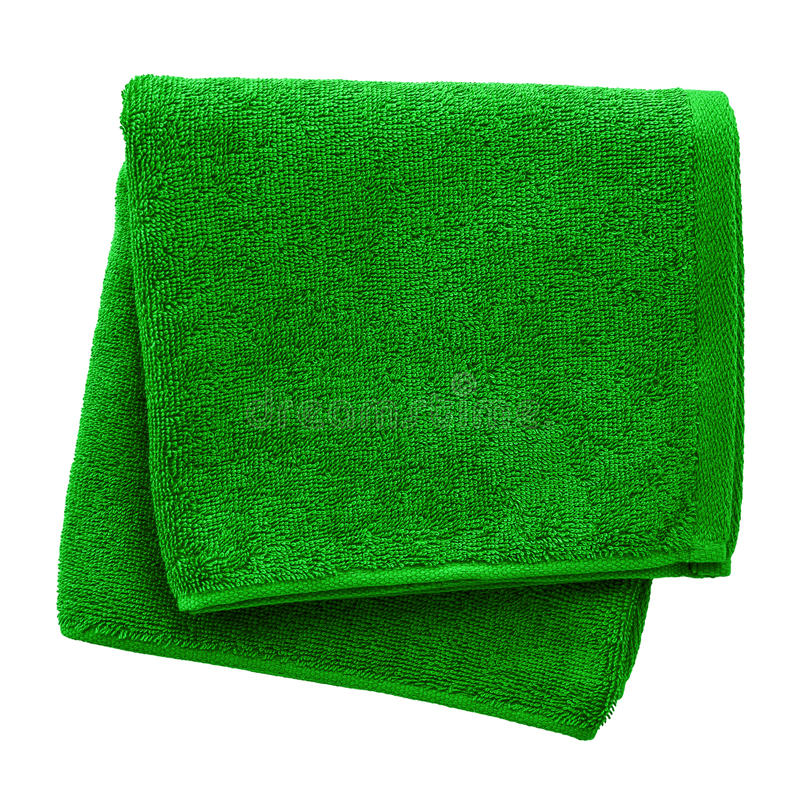 Green towel. Isolated on white background stock photo