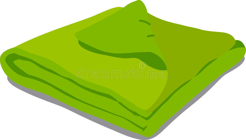 Green towel on white background royalty free illustration