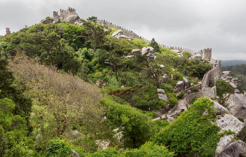 Green town inside the 8th century Castle of the Moors, Sintra. Historical landscape in Portugal and a UNESCO site. Green town inside the 8th century Castle of stock photography
