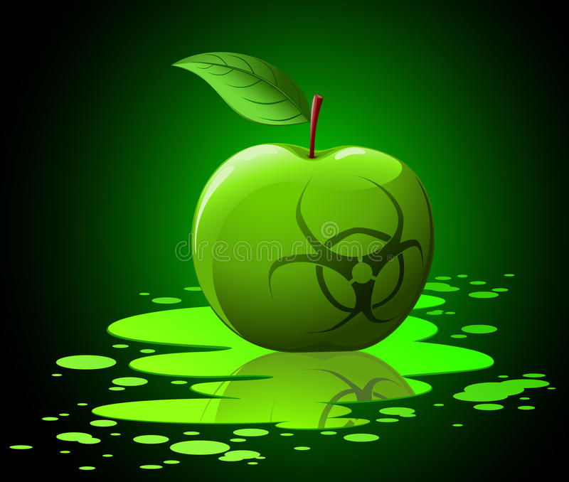 Download Green Toxic Apple With Biohazard Stock Vector - Illustration of infected, eating: 18539984