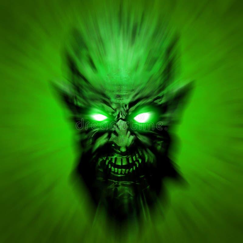 Green toxic head of the shouting monster. 3D illustration. stock illustration