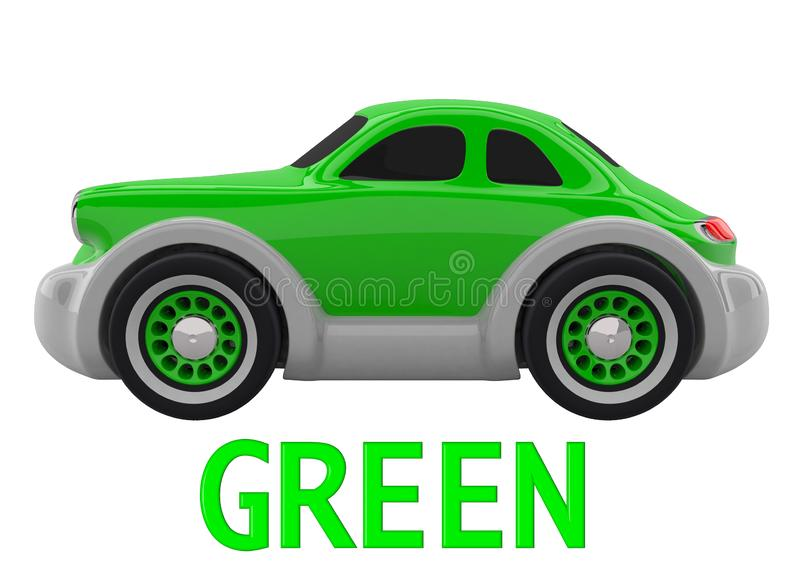 Toy car. 3D render. Green toy car and an inscription with the name of the color. Isolated on white background. 3D render vector illustration