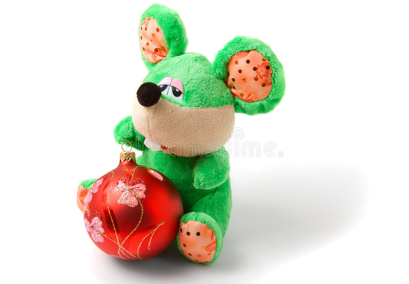 Green toy mouse with red christmas ball stock images