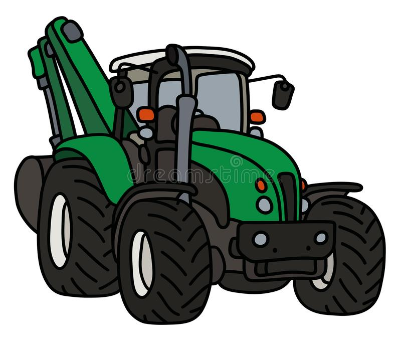 The green tractor with an excavator. The hand drawing of a green tractor with the excavator vector illustration