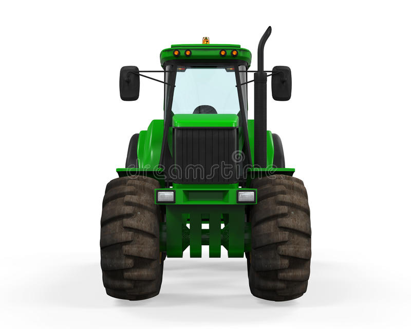 Green Tractor Isolated. On white background. 3D render royalty free illustration