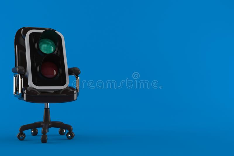 Green traffic light on business chair. Isolated on blue background. 3d illustration royalty free illustration