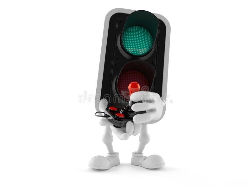 Green traffic light character holding retro joystick stock illustration
