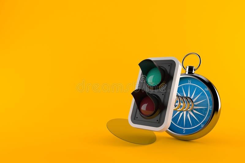Green traffic light with compass vector illustration
