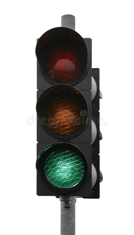 Green traffic light. Green traffic control signal isolated on white stock photos