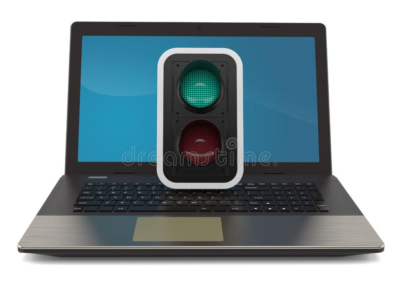 Green traffic light with laptop stock illustration