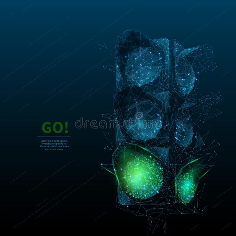 Free Green Traffic Light Low Poly Wireframe Banner Template Royalty Free Stock Image - 153974366