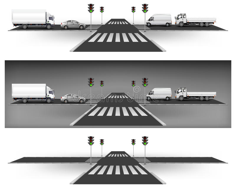 Download Green traffic lights stock vector. Illustration of pavement - 20106512
