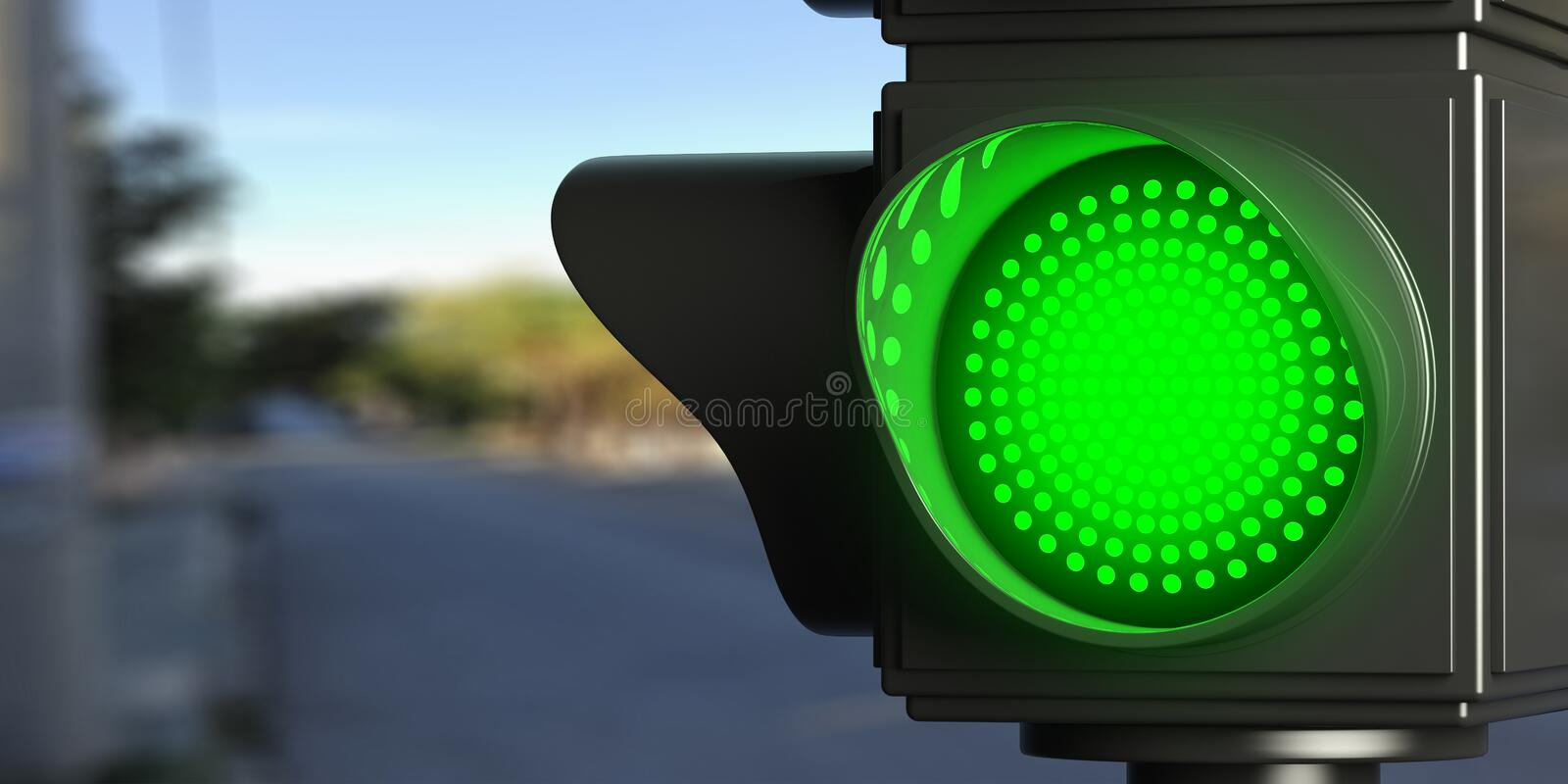 Green traffic lights on blur street background, copy space. 3d illustration. Green led traffic lights on blur street background, copy space. 3d illustration vector illustration
