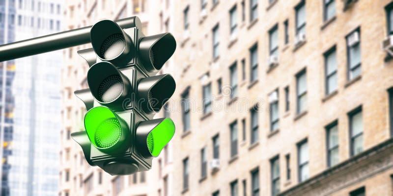 Green traffic lights for cars, blur office buildings background. 3d illustration stock illustration