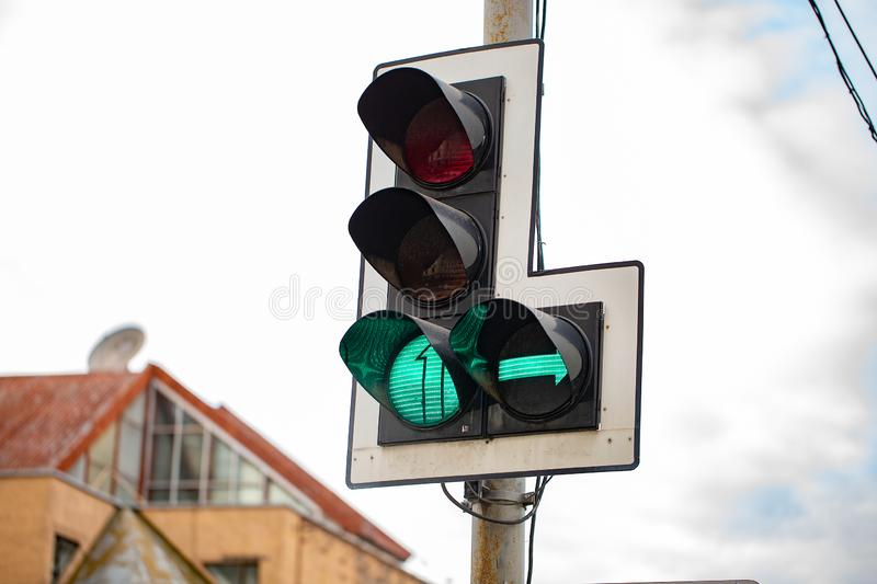 The Green Traffic lights with right arrow. Traffic lights with right arrow. traffic light with green stock images