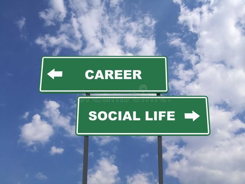 Green traffic sign quote : Career vs Social Life stock photos