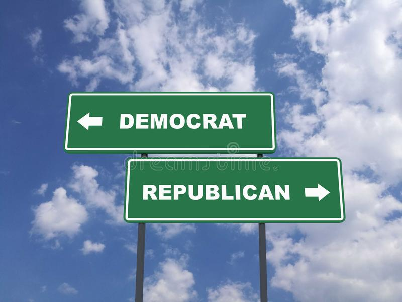 Green traffic sign quote : Democrat vs Republican stock images