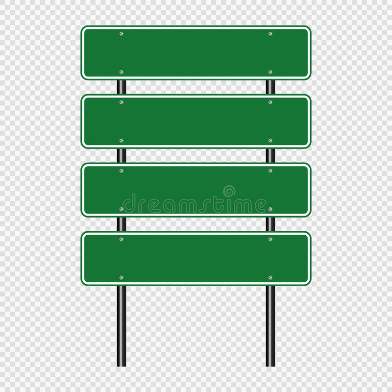 Green traffic sign,Road board signs isolated on transparent background. Vector illustration EPS 10. Traffic sign,Road board signs isolated on transparent royalty free illustration
