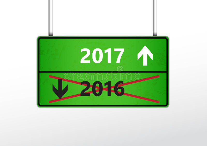 Green traffic sign with upcoming 2017 and cross out 2016 year stock illustration