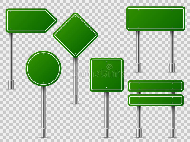 Green traffic signs. Road board text panel, mockup signage direction highway city signpost location street arrow way set. Green traffic signs. Road board text vector illustration