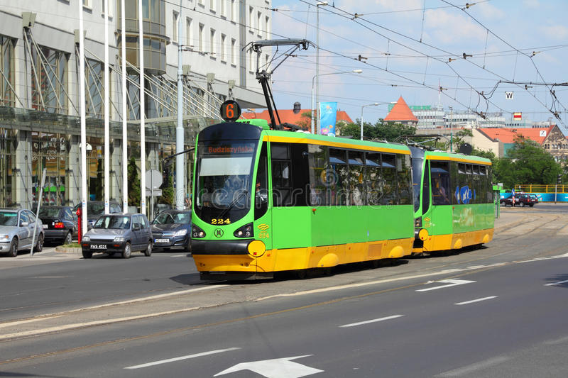 Green tram in Poznan royalty free stock images