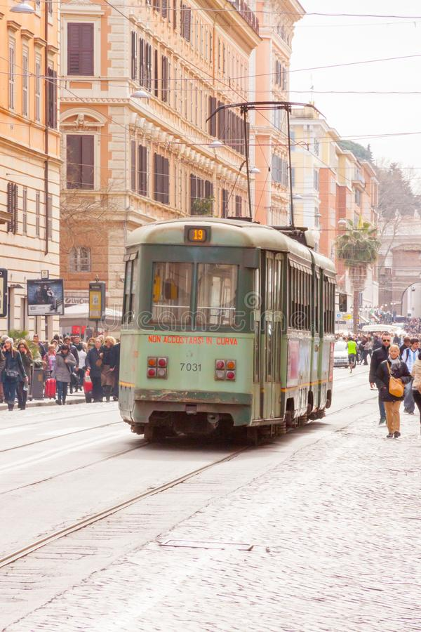 Green Trams In Vatican City Editorial Photography