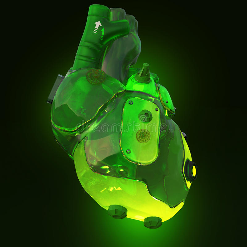 Green translucent toxic acid glowing techno cyber heart, isolated on dark background rendering vector illustration