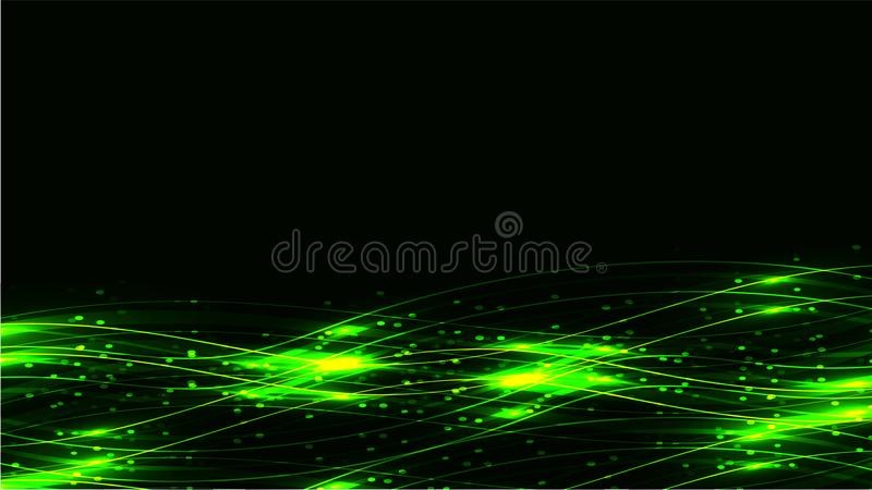 Green transparent abstract shining magical cosmic magical energy lines, rays with highlights and dots and light auroras on a dark stock illustration