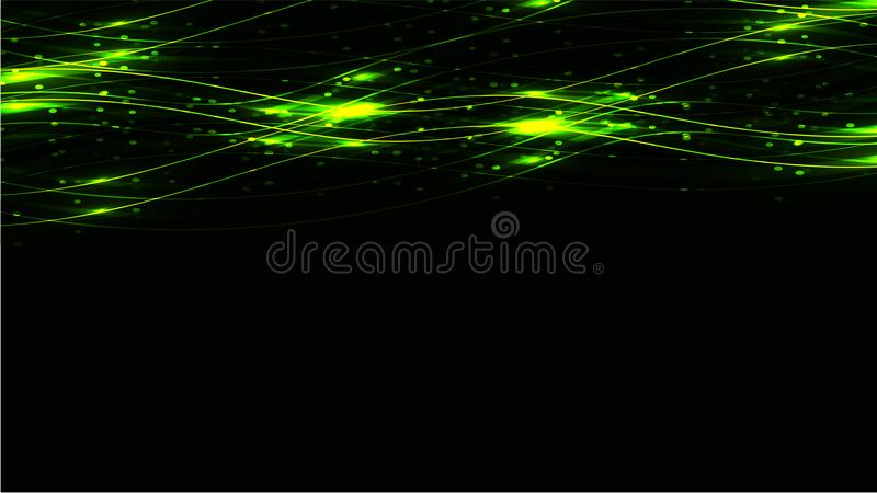 Green transparent abstract shining magical cosmic magical energy lines, rays with highlights and dots and light auroras on a dark vector illustration