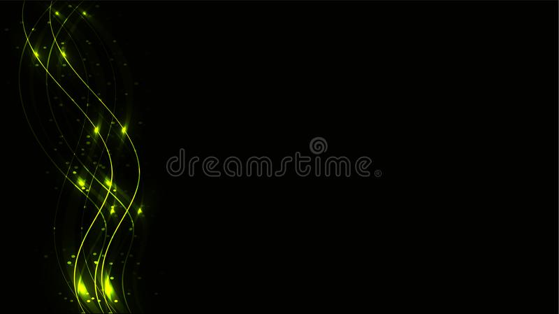 Green transparent abstract shiny magical cosmic magic energy lines, rays with glare and dots and light shines on a black backgroun vector illustration