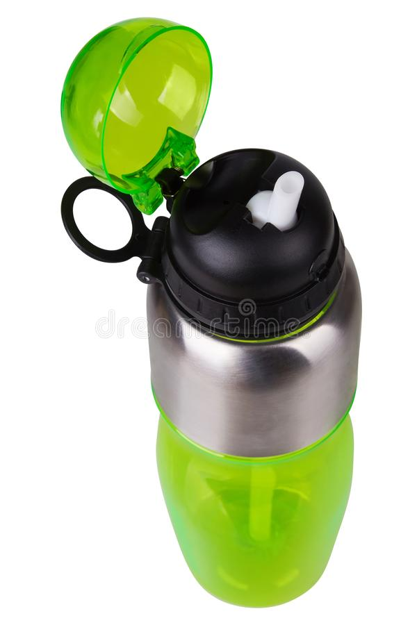 Green transparent Plastic Sport Nutrition Drink Bottle isolated on white background. Sporting item with protection cap. Sport fashion, Sport accessories, Sport stock photography