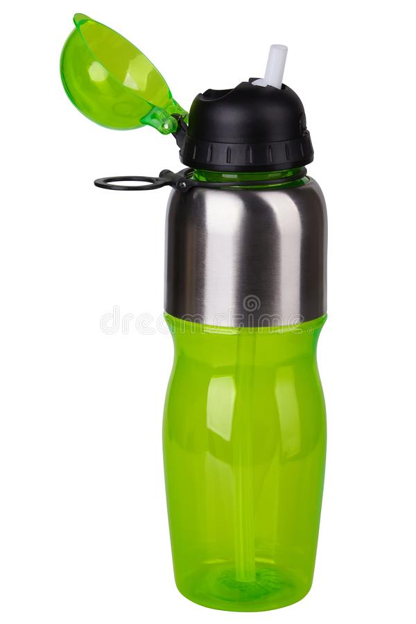 Green transparent Plastic Sport Nutrition Drink Bottle isolated on white background. stock photos