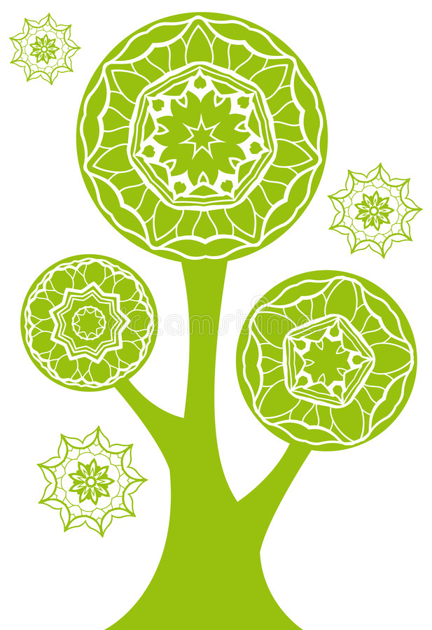 Download Green tree stock vector. Image of leaf, flower, pattern - 5924272