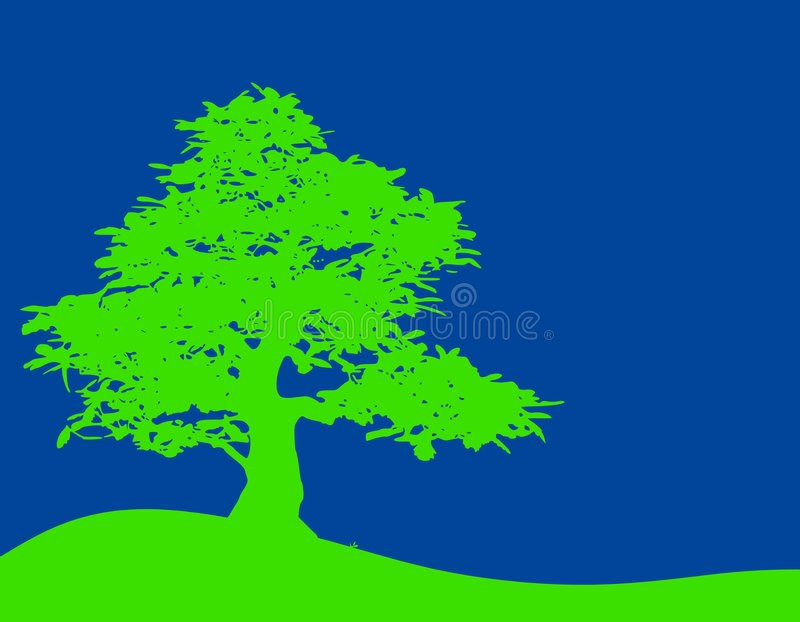 Green Tree Blue Sky Background. A background illustration featuring a simple 2-tone scene with green tree and grass set against blue sky. Sorry, RAW format not