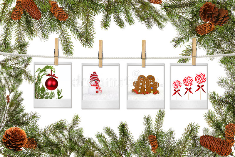 Green Tree Branches and Film Blanks With Christmas. Pictures on White Background royalty free stock images