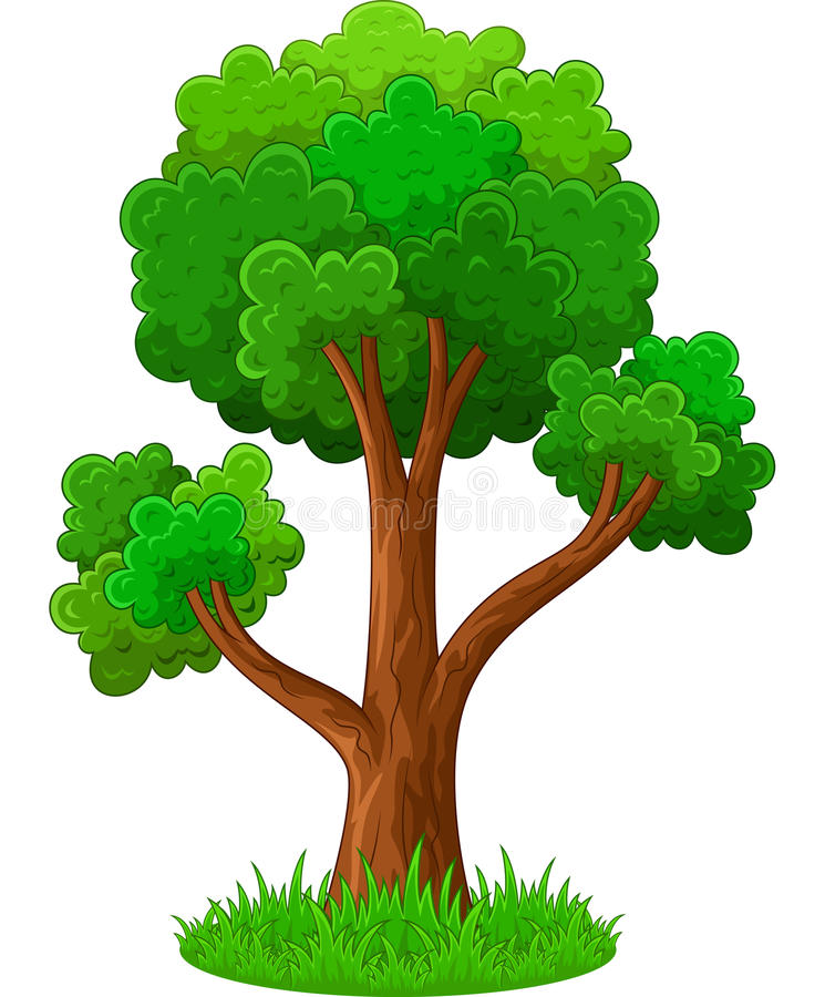 Green tree cartoon royalty free stock photo