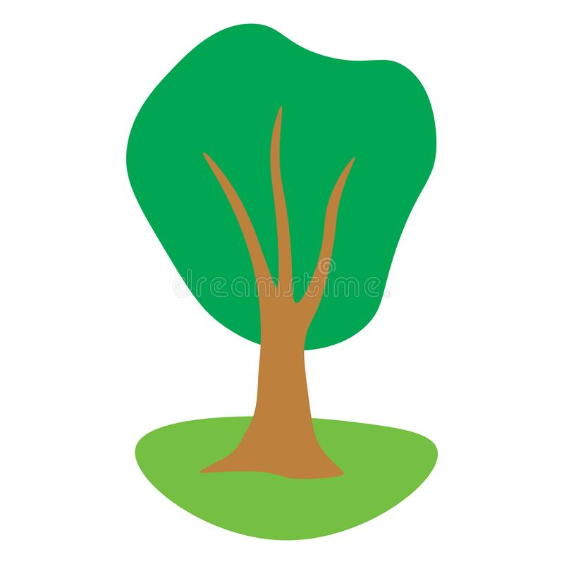 Cartoon green tree on the lawn in flat style. Icon. Summer park. Vector illustration vector illustration