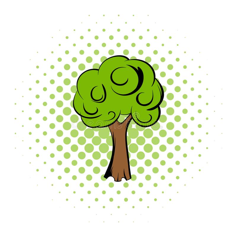 Green tree comics icon. Saving plants icon. Single symbol on a white background stock illustration