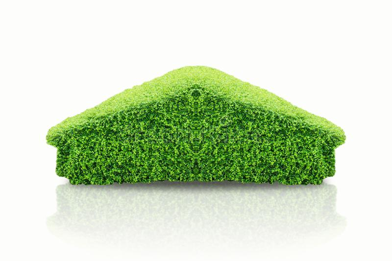 Green tree in the form of house and bush in home shape, concept as Global Warming, save earth and world environment day, protect p. Ollution, arrow are growing stock photos