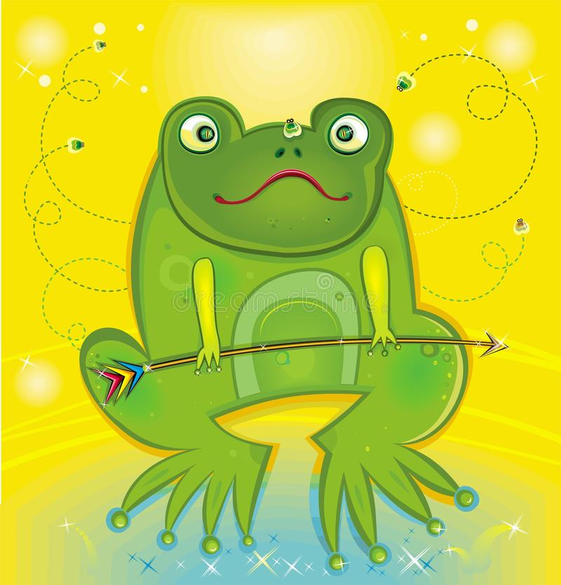 Green tree frog holding arrow stock illustration